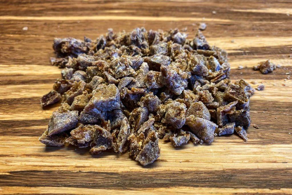 Chopped dates on a chopping board
