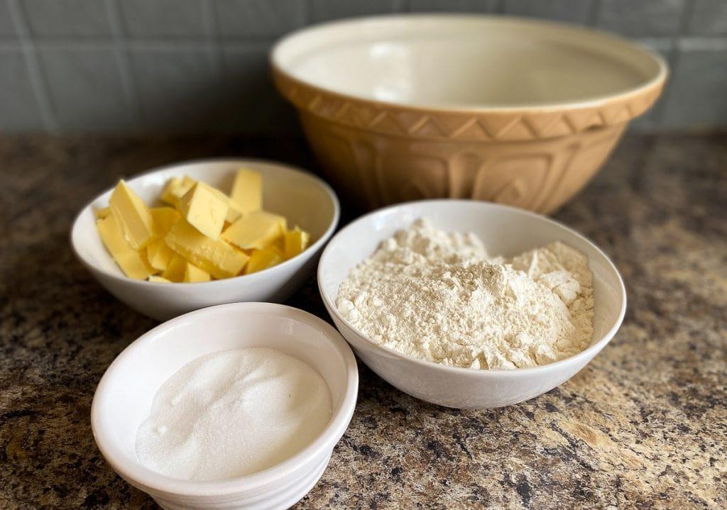 Ingredients for shortbread - flour, butter, sugar