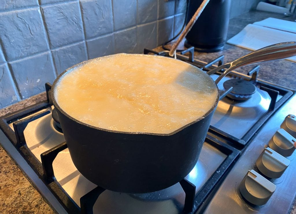 Tablet mixture boiling on the stovetop