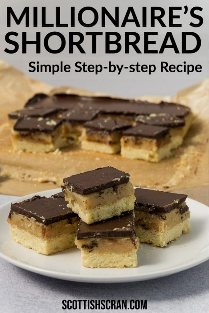Easy Millionaire's Shortbread Recipe | Caramel Squares Recipe on plate with some in the background