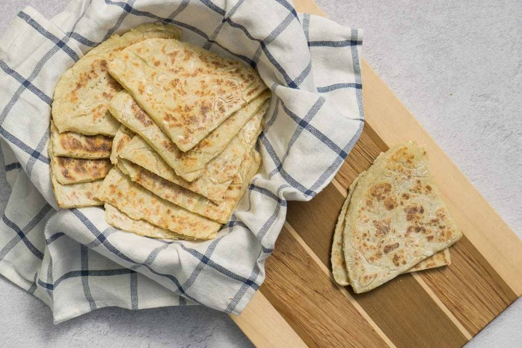 Scottish Tattie Scones in a bowl and on a chopping board