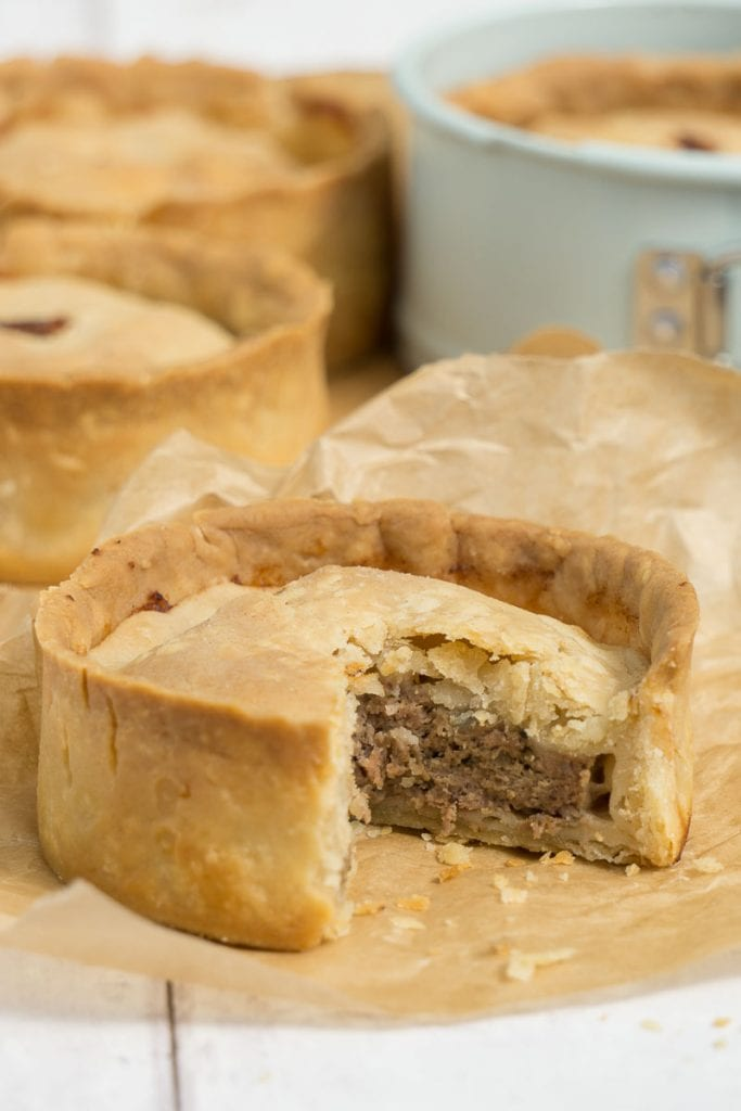 Scotch Pie Recipe - Scottish Meat Pies on banking paper and in tins