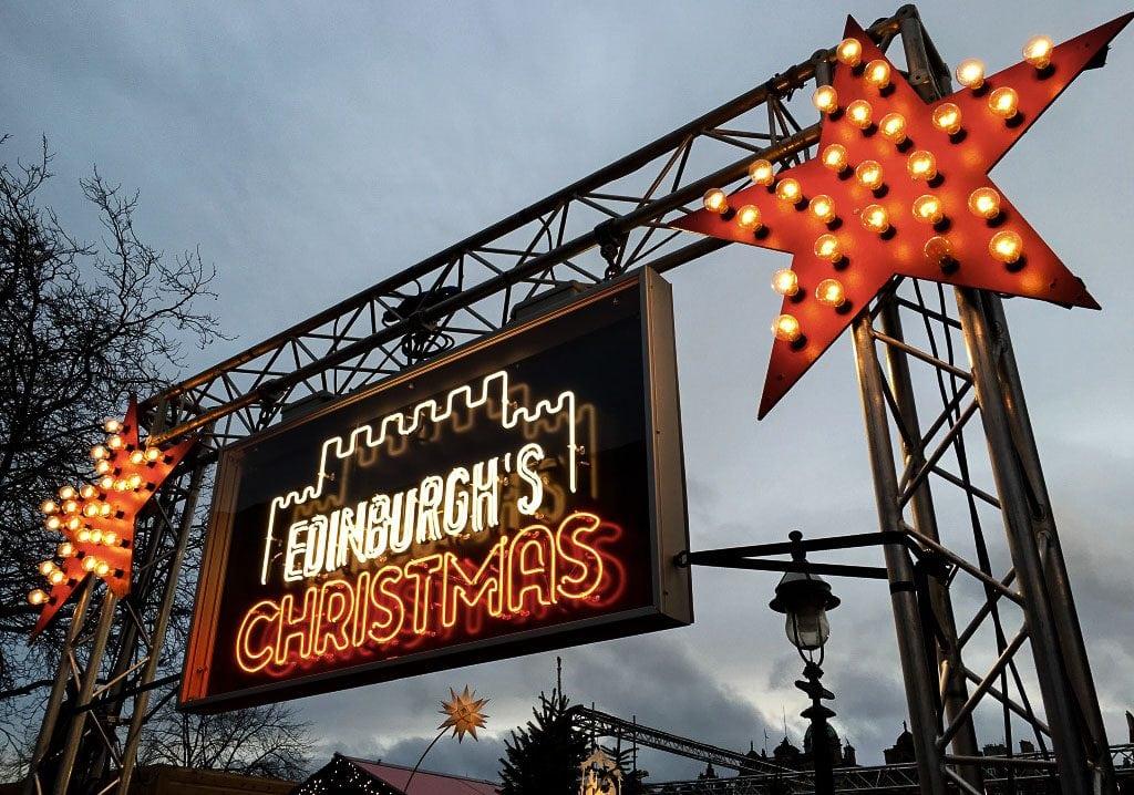 Edinburgh's Christmas sign at Edinburgh Christmas Markets