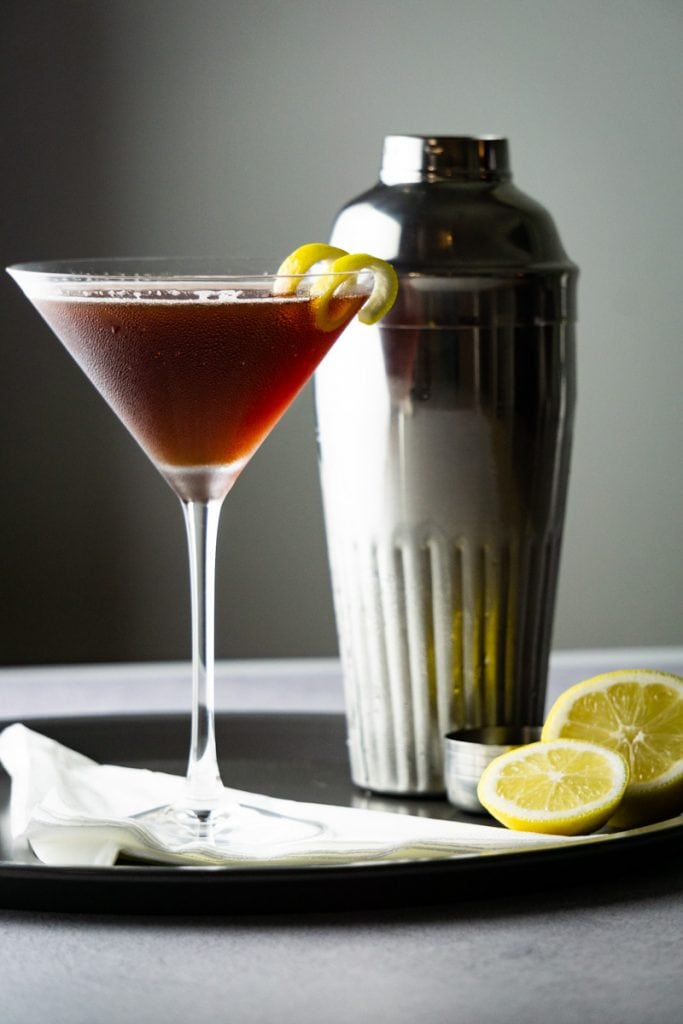 A Flying Scotsman Cocktail and cocktail shaker