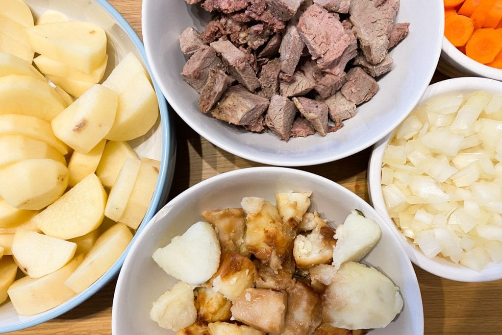 Ingredients for Stovies Recipe - Roast meat, roast potatos, chopped potatoes, chopped onion, chopped carrot