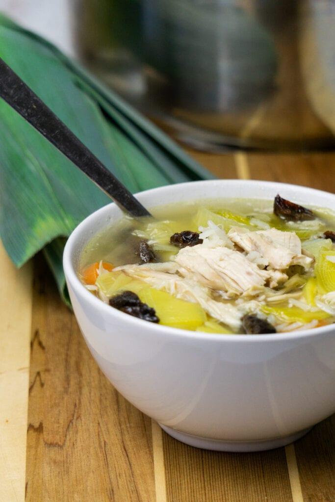 Cock-a-leekie soup recipe in a bowl