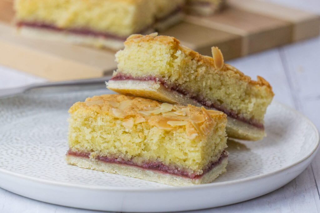 Almond Slice Recipe with two slices on a plate