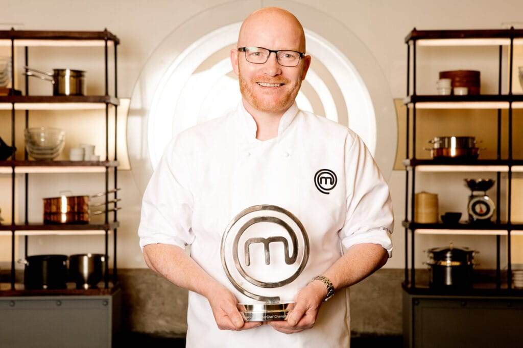 Gary Maclean - Scotland's National Chef and Masterchef Professionals winner with his award.