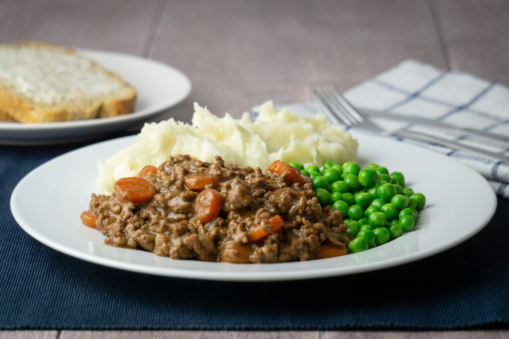 Mince and Tatties Recipe on a plate